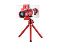 Kit lentila foto Tele 18x 3in1 pentru telefon mobil rosu Blister