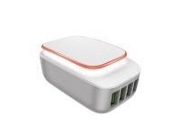 Incarcator Retea 4 X USB MicroUSB Ldnio LED A4405 4.4A Alb Blister Original