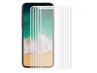 Set Folie Protectie ecran Apple iPhone X Enkay Tempered Glass Full Face Alba (5 bucati) Blister Original