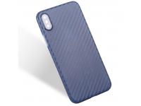 Husa plastic Apple iPhone X Carbon Bleumarin