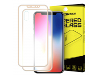 Folie Protectie fata si spate Apple iPhone X WZK Tempered Glass Full Body Aluminum Frame aurie Blister Originala