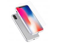 Pachet promotional Husa plastic Argintie + Folie Tempered Glass Apple iPhone X