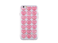 Husa silicon TPU Apple iPhone 7 Plus 3D Glitter Hearts roz