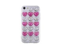 Husa silicon TPU Samsung Galaxy S8 G50 3D Glitter Hearts roz argintie