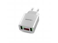 Adaptor priza Dual USB USAMS CC040 cu afisaj Alb Blister Original