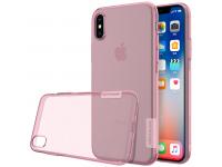 Husa silicon TPU Apple iPhone X Nillkin Nature Roz Transparenta Blister Originala