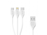 Cablu de date USB - MicroUSB Lightning USB Type-C Remax Lesu RC-050th Alb Blister Original