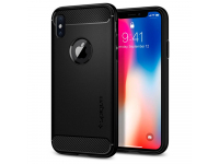 Husa TPU Spigen Rugged Armor Pentru Apple iPhone X, Neagra, Blister 057CS22125