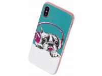 Husa TPU OEM Disco Dog pentru Apple iPhone 7 / Apple iPhone 8, Fosforescenta, Multicolor, Bulk