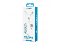 Cablu Date si Incarcare USB la Lightning - USB la MicroUSB - USB la USB Type-C Forever nylon, 1 m, Alb, Blister