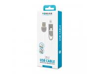 Cablu Date si Incarcare USB la Lightning - USB la MicroUSB Forever silikon, 1 m, Alb, Blister