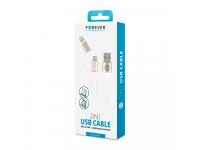 Cablu Date si Incarcare USB la Lightning - USB la MicroUSB Forever Metal Head, 1 m, Alb, Blister