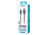 Cablu Date si Incarcare USB la MicroUSB Forever Jeans 2A, 1 m, Blister
