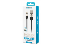 Cablu Date si Incarcare USB la Lightning Forever Modern 2A, 1 m, Negru, Blister