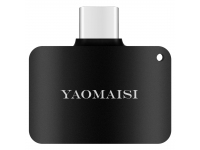 Adaptor Audio USB Type-C la 3.5 mm Yaomaisi cu port incarcare USB Type-C, Negru, Blister