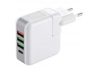 Incarcator Retea USB OEM KP-4U, 1 X USB Tip-C - 3 x USB, Alb, Blister