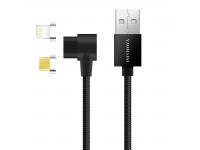 Cablu Date si Incarcare USB la Lightning - USB la MicroUSB Pofan Q13 Magnetic 2 in 1, 1 m, Negru, Blister