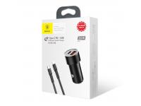 Incarcator Auto cu cablu Lightning Baseus TZXLD-01, 1 X USB - 1 X USB Tip-C, Negru, Blister