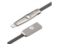 Cablu Date si Incarcare USB la Lightning - USB la MicroUSB Floveme, 2 m, Gri, Blister