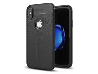 Husa TPU OEM Litchi pentru Apple iPhone X, Neagra, Bulk