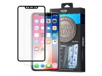 Folie Protectie Fata si Spate Remax pentru Apple iPhone X, Sticla securizata, Full Cover, Caesar, Neagra, Blister