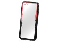 Husa TPU OEM Acrylic pentru Apple iPhone X, Neagra - Rosie - Transparenta, Bulk