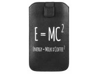 Husa Piele GreenGo Universala E=MC2 XXXXL pentru Telefon 5.5 inci, Neagra, Bulk
