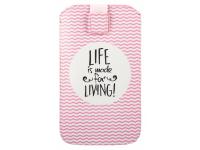Husa Piele GreenGo Universala Life is made for living XXXXL pentru Telefon 5.5 inci, Roz, Bulk
