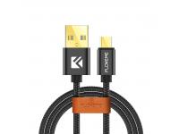 Cablu Date si Incarcare USB la MicroUSB Floveme Nylon Weave, 1 m, Negru, Blister