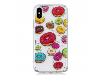 Husa TPU OEM Donut pentru Apple iPhone X, Multicolor, Bulk