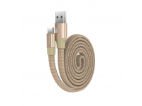 Cablu Date si Incarcare USB la USB Type-C DEVIA Ring Y1, 0.8 m, Auriu, Blister