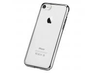 Husa TPU DEVIA Glitter pentru Apple iPhone 7 / Apple iPhone 8, Argintie - Transparenta, Blister