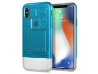 Husa Plastic Spigen Classic C1 pentru Apple iPhone X, Albastra - Transparenta, Blister 057CS24432