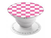 Suport Stand Adeziv Popsockets pentru telefon Checker Roz Blister