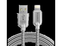 Cablu Date si Incarcare USB la Lightning Soultech Metalic Fast Platinum DK023GR, 1 m, Gri, Blister