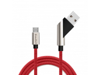 Cablu Date si Incarcare USB la MicroUSB Soultech Moveable Fast Platinum DK027K, 1 m, Rosu, Blister