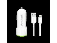 Incarcator Auto cu cablu Lightning Soultech Comfort SC343B, 3.1A, 2 X USB, Alb, Blister