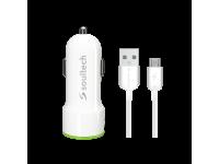 Incarcator Auto cu cablu MicroUSB Soultech Comfort SC344B, 3.1A, 2 X USB, Alb, Blister