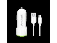Incarcator Auto cu cablu USB Tip-C Soultech Comfort SC345B, 3.1A, 2 X USB, Alb, Blister