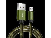 Cablu Date si Incarcare USB la MicroUSB Soultech Army Metal DK030, 1 m, Multicolor, Blister