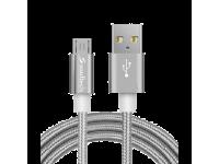 Cablu Date si Incarcare USB la MicroUSB Soultech Metal Rope DK036G, 1 m, Gri, Blister