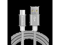 Cablu Date si Incarcare USB la USB Type-C Soultech Metal Rope DK037GR, 1 m, Gri, Blister