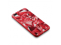 Husa TPU OEM Glass Case Diamond pentru Apple iPhone 7 / Apple iPhone 8, Rosie, Bulk