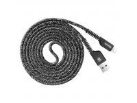 Cablu Date si Incarcare USB la Lightning Baseus Weave, 1.5 m, Negru, Blister
