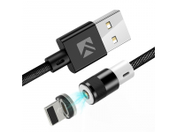 Cablu Incarcare USB la Lightning Floveme Magnetic, 1 m, Negru, Bulk
