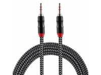 Cablu Audio 3.5 mm la 3.5 mm OEM Nylon Weave, 2 m, Negru, Bulk