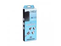 Cablu Incarcare USB la Lightning - USB la MicroUSB - USB la USB Type-C OEM Magnetic, 1 m, Argintiu, Blister