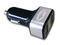 Incarcator Auto USB Reekin CH-003BK, 3.1A, Cu Afisaj, 2 X USB, Argintiu - Negru, Blister