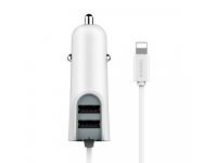 Incarcator Auto cu fir Lightning Baseus Energy Station, 2 X USB, Alb, Blister
