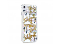 Husa TPU Disney Minnie Mouse 037, Liquid Glitter, Pentru Apple iPhone X, Aurie, Blister